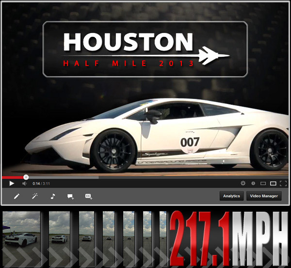 Underground Racing Standing Half Mile World Record! 217.1mph